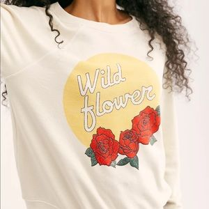 Mate Wild Flower Pullover Sweatshirt Terry Small